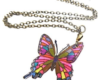 Short necklace, multicolor butterfly pendant on bronze chain