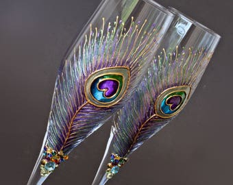 Wedding Glasses, Peacock Glasses, Champagne Flutes, Gold Peacock Glasses,  Hand Painted set of 2