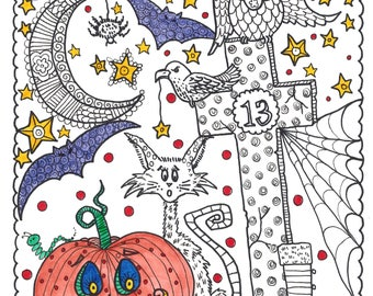 halloween digital coloring book adult coloring color pages coloring witch goblin - Digital Coloring Book