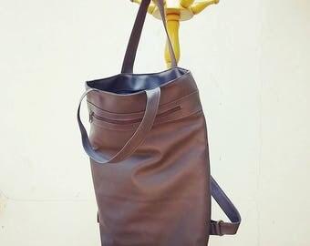 Vegan Leather womens backpack, laptop backpack purse,  grey backpack, Travel backpack, Hipster backpack, cool backpacks, college backpack