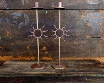 Vintage tribal brass metal sun taper candle holders/tall metal candle holders/set of 2