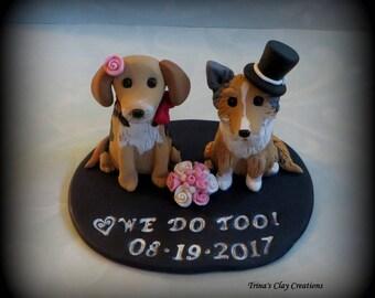 Wedding Cake Topper, Custom Cake Topper, Sheltie, Hound, Puppy, Cake Topper, Dog, Polymer Clay, Keepsake
