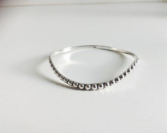 Pearl Necklace Bangle //Sterling Silver 925 Quirky Funky Unique