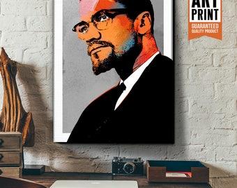 Malcolm X - Canvas Art Print, Malcolm X art, Canvas Print, Malcolm X pop art portrait on canvas