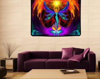 "Angel Tapestry, Reiki Attuned Art, Large Blanket, Meditation Wall Decor ""Phoenix Rising"""