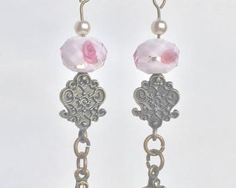 Brass pink cameo dangle earrings