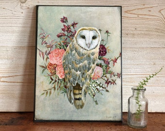 Owl Gift, Owl and Flowers Art, Owl and Flowers Picture, Owl Gift Ideas, Owl Nursery Art, Rustic Owl Print, Owl Totem, Owl Wall Decor