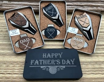 Father's Day golf gifts for men, Personalized Golf Ball Marker & Divot Tool Set, Dad Gift, Man Gift, Husband Gift,Golf Set