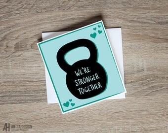 We're Stronger Together Greeting Card | Fitness Couple Printed Card | Crossfit Couple Card | Workout Partners Card | Romantic Greeting Card