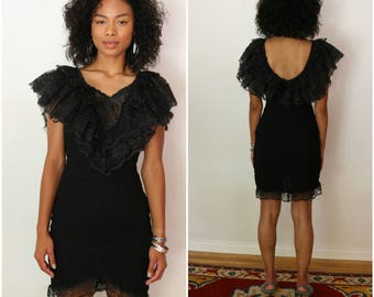 80's Vintage Black Lace Stretch Dress - Size Small - Party - Cocktail - LBD - Retro