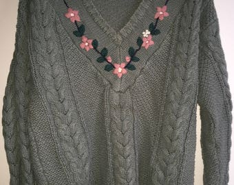 Vintage Women's Cable Knit Sweater By Shenanigan's Size Large Green Flowers