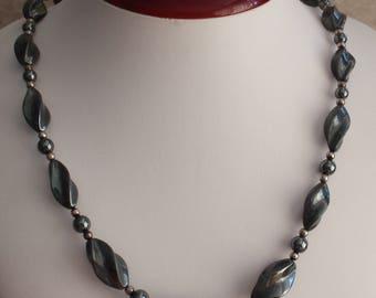 Hematite Necklace Graduated Beads Sterling Findings 31 InchVintage V0649