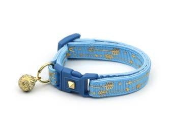 Arrow Cat Collar - Metallic Gold Arrows on Light Blue - Small Cat / Kitten Size or Large Size - Woodland - Boho