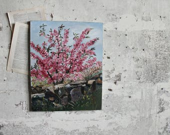 Vintage Cherry Blossom Tree Painting