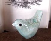 Small Bird/Bird Whistle, Hand Carved and Handmade in Stoneware, Glazed in Soft Blue Green