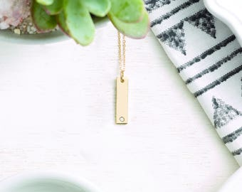 Solid Gold Birthstone Bar Pendant Necklace - Birth Month Gemstone. 14k, 18k Yellow, Rose, White Gold, Platinum. FREE Back Engraving