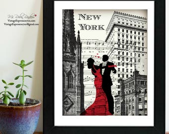 New York, Art Deco, Couple on Music Sheet, Print
