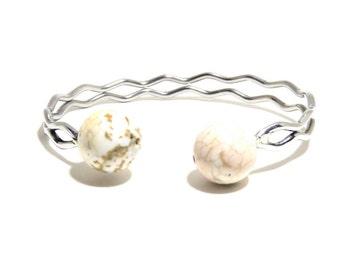 White Turquoise Bracelet, Howlite Stone, Adjustable Bracelet, Stones Bracelet, BLB 31