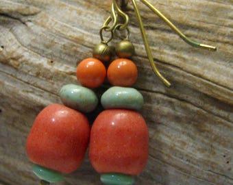 salmon and turquoise dangle earrings