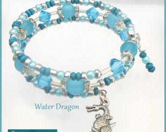 Multistrand Coil Bracelet Silver Dragon Charm Crystals Wood Glass Pearl Turquoise Teal Year of the Dragon One Size Fits Most / Choose Charm