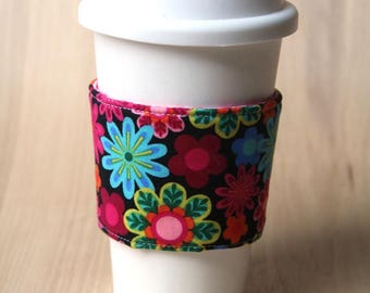 Reversible Coffee Cozy, Coffee Cup Sleeve - Colorful Flowers - Ready to Ship