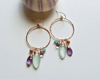 Purple Aqua Hoop Earrings, Amethyst Hoop Cluster, Lavender Mint Hoops