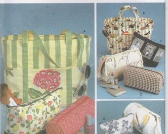 Tote Bag Pattern Cosmetic Bag, Tissue Cover Roll Bag Uncut Simplicity 9949