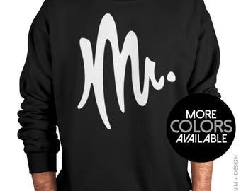Mr. Sweatshirt, Crew Neck Sweatshirt, Husband and Wifey, Married, Wedding, Mr. and Mrs. Men's Sweater, Honeymoon, Mens Clothing, Mr Sweater