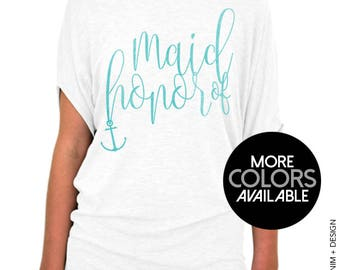 Nautical Maid of Honor Shirt. Nautical Beach Wedding. White Slouchy Oversized Tee Shirt. Black. Gold. Rose Gold. Aqua Ink Options