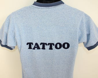 Tattoo fuzzy letters Better Under Pressure vintage ringer tee t-shirt S blue 80s iron-on adhered
