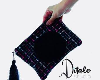 Fabric zipper pouch- wool zipper pouch- pink-grey-black