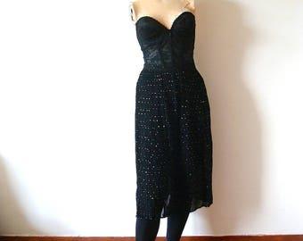 1970s-80s Sheer Black Skirt - Anne Klein fortuny pleat chiffon dress skirt from Saks - designer vintage cocktail attire size S