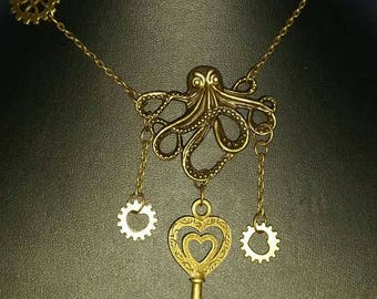 Steampunk Octopus Necklace, Steampunk jewellery, Octopus necklace, Kraken necklace, Nautical Jewellery, Nautical necklace