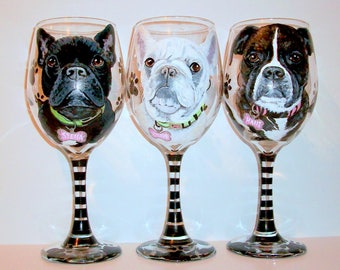 French Bull Dog Pet Portraits Custom Hand Painted Set of 3 - 20 oz. Wine Glasse Pets Pet Lover Boxer Frenchy Personalized Paw Prints