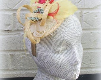 Yellow  Firecracker Fascinator: Vintage StyleFashion Hat for Church, Derby, or Mother's Day