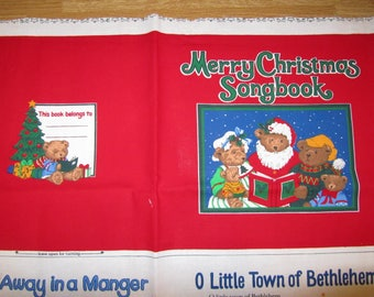 """MERRY CHRiSTMAS SONGBOOK Vintage Fabric Panel 35"""" x 47"""""""