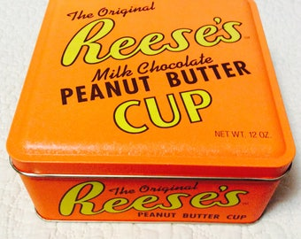 Vintage Reese's Peanut Butter Cup Tin Container Advertising Orange