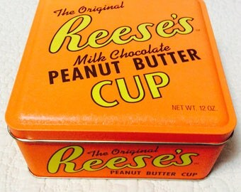Vintage Reese's Peanut Butter Cup Tin Box Advertising Orange