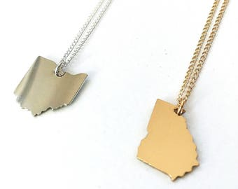 Custom State Necklace - Sterling silver and 14k gold fill, hometown necklace, state necklace, state outline necklace, state charm necklace