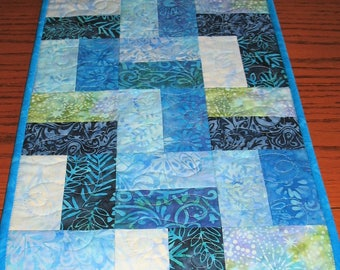 Sale Christmas in July Batik Table Runner, blue table runner, quilted table runner, handmade