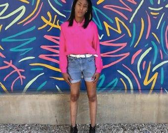 Vintage 1980's Lauren Lee Bright Pink Long Sleeve Blouse