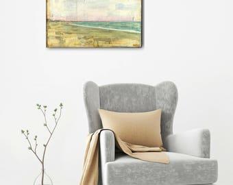 """Ocean Painting, 12x16"""" Original Art, Sea Painting, Mixed Media Painting, Coastal Art, Pink, Aqua, Rhode Island Art, """"Narragansett Beach"""""""