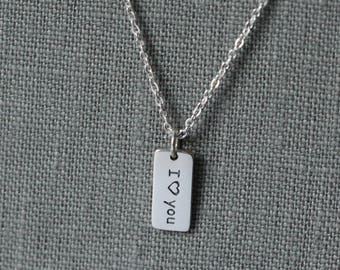 I Love You Necklace,  I Love you Gift for Girlfriend, Sterling Silver I Love You Jewelry, I Heart You Necklace