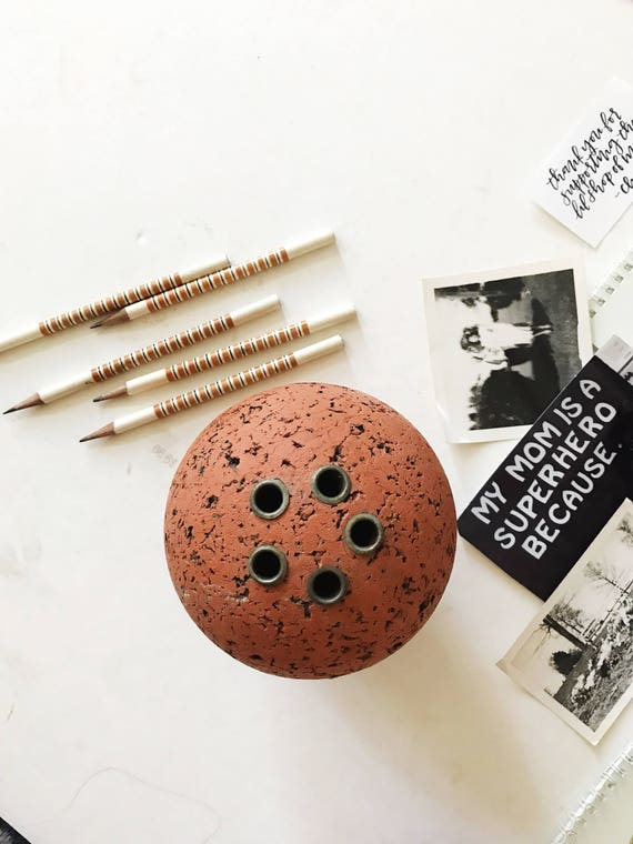 mid century round cork pencil holder / orb memo ball / office supplies