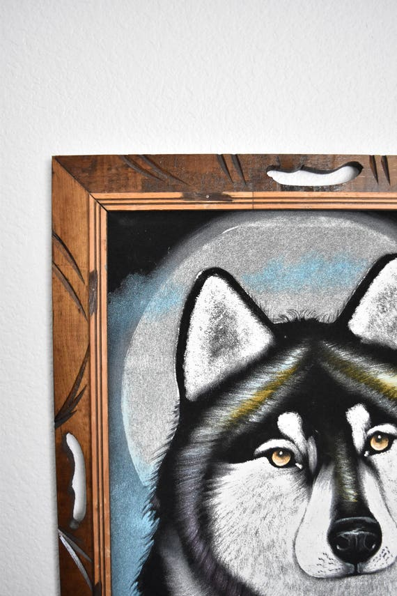 large framed vintage signed ortiz velvet painting of wolf / mexican artist