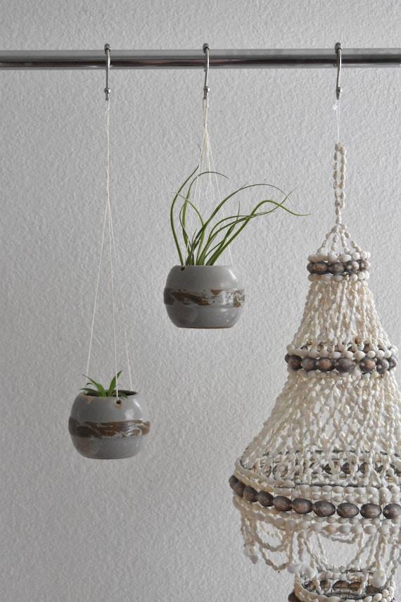 pair of ceramic pottery hanging pots / macrame plant hanger