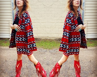 southwestern oversize linen cotton blend blazer navy and red bright bold print cowgirl cool bohemian boho chic jacket blazer cool aztec