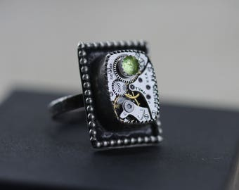 Peridot Ring Birthstone Ring August Birthstone Steampunk Ring Unique Ring Sterling Silver Gothic Boho Green Steampunk Jewelry Watch Ring