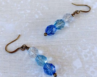 Faceted Blue Glass Ombre in Shades of Blue, Wire Wrapped Antiqued Gold Plated Brass Bronze Dangle Earrings