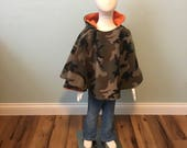 Car seat poncho, camouflage poncho, hunter orange poncho, children's fleece poncho, reversible car seat blanket, toddler Poncho, boy poncho
